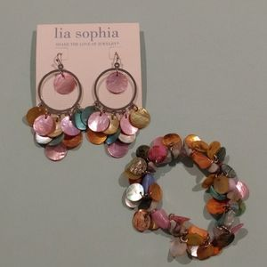 Lia Sophia multi color earrings and bracelet set